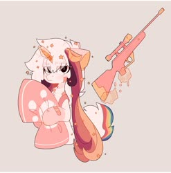 Size: 1280x1295 | Tagged: safe, artist:little-sketches, oc, oc:ayaka, earth pony, unicorn, alternate design, female, magic, mare, pillow, solo, species swap, weapon