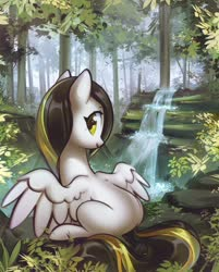 Size: 1598x1992 | Tagged: safe, artist:mirroredsea, oc, oc only, pegasus, pony, blank flank, commission, female, forest, looking at you, looking back, looking back at you, mare, nameless oc, scenery, sitting, smiling, solo, spread wings, water, waterfall, white coat, wings