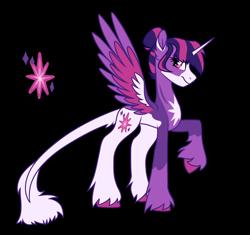 Size: 1568x1471   Tagged: safe, artist:koloredkat, twilight sparkle, alicorn, pony, cutie mark, female, leonine tail, mare, raised hoof, redesign, simple background, solo, transparent background, twilight sparkle (alicorn), unshorn fetlocks
