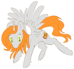 Size: 864x801   Tagged: safe, artist:anonymous, oc, oc only, oc:ginger peach, alicorn, /mlp/, alicorn oc, drawthread, green eyes, horn, orange hair, simple background, solo, white background, wings
