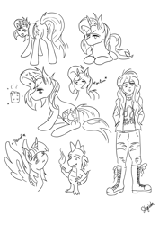 Size: 3508x4961 | Tagged: safe, artist:shyinka, spike, sunset shimmer, twilight sparkle, alicorn, dragon, human, pony, unicorn, boots, boss ass bitch, bunset shimmer, butt, clothes, combat boots, compilation, doodle, fire, geode of empathy, jacket, jeans, leather jacket, leo, lineart, magical geodes, monochrome, pants, pomf, pose, random, ripped jeans, shoes, sitting, sketch, spread wings, standing, sunlight, wiggle, wingboner, wings, zodiac, zodiac sign