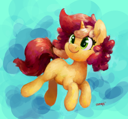 Size: 2830x2643 | Tagged: safe, artist:aemantaslim, oc, oc only, oc:pastel drop, pony, unicorn, abstract background, female, mare, smiling, solo