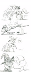 Size: 1000x2308 | Tagged: safe, artist:baron engel, princess celestia, trixie, oc, oc:carousel, oc:petina, earth pony, pony, unicorn, ball, cape, clothes, colored hooves, female, glowing horn, grayscale, happy, hat, horn, magic, mare, monochrome, nudity, pencil drawing, petina corrupts another pony, playing card, plushie, simple background, smiling, story included, telekinesis, traditional art, white background