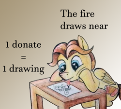Size: 719x649 | Tagged: safe, artist:stjonal, oc, oc:stjonal, pegasus, pony, advertisement, artin' for good, australia, donation, drawing, help, mouth drawing, mouth hold, pencil drawing, puffy cheeks, sitting, starry eyes, table, traditional art, watercolor painting, watercolour, wingding eyes, wings