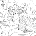 Size: 3000x3000 | Tagged: safe, artist:sourcherry, king sombra, pony, umbrum, unicorn, armor, bed, bedroom, cape, chest fluff, clothes, crown, horn, jewelry, male, pillow, regalia, sheet, solo, wool