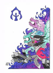 Size: 1241x1704 | Tagged: safe, artist:assertiveshypony, idw, king sombra, rabia, pony, umbrum, siege of the crystal empire, crystal, fog, simple background, symbol, traditional art, white background