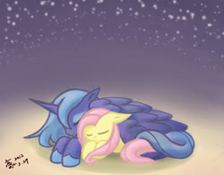 Size: 1366x1064   Tagged: safe, artist:howxu, fluttershy, princess luna, alicorn, pony, covering, cuddling, cute, eyes closed, female, floppy ears, howxu is trying to murder us, lesbian, lunashy, night, shipping, sleeping, stars, wing blanket, wing covering, wings