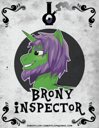 Size: 2550x3300 | Tagged: safe, artist:samoht-lion, oc, oc only, oc:brony inspector, pony, unicorn, beard, bust, facial hair, grin, male, smiling, solo, stallion, text
