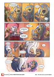 Size: 3541x5016 | Tagged: safe, artist:freeedon, artist:lummh, oc, oc:appolonia, oc:aurora, oc:selendis, dragon, pony, unicorn, comic:the lost sun, baby, baby pony, boop, cloak, clothes, collaboration, comic, cute, eyes closed, female, filly, flashback, foal, glowing eyes, glowing horn, hood, horn, magic, mare, newborn, noseboop, nuzzling, patreon, patreon logo, siblings, sisters, speech bubble, telekinesis