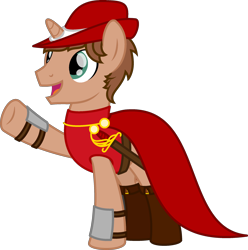 Size: 2319x2333 | Tagged: safe, artist:peternators, oc, oc:heroic armour, pony, unicorn, boots, bracer, cape, clothes, fantasy class, hat, male, red mage, shoes, simple background, smiling, stallion, transparent background