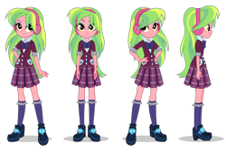 Size: 1400x946 | Tagged: artist needed, safe, lemon zest, equestria girls, hand on hip, hands on hip, headphones, looking at you, poses, side view, simple background, smiling, transparent background, turnaround, vector