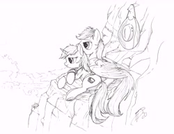 Size: 10200x13200 | Tagged: safe, artist:brisineo, oc, oc only, oc:calamity, oc:littlepip, pegasus, pony, unicorn, fallout equestria, black and white, cliff, clothes, cowboy hat, cuddling, dashite, fanfic, fanfic art, female, grayscale, hat, hooves, horn, laying on side, lying, lying down, male, mare, monochrome, pipbuck, piplamity, prone, side, smiling, stallion, vault suit, wings