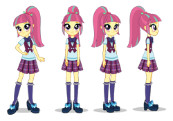 Size: 1400x980 | Tagged: artist needed, safe, sour sweet, equestria girls, freckles, hand on hip, looking at you, ponytail, poses, side view, simple background, smiling, transparent background, turnaround, vector
