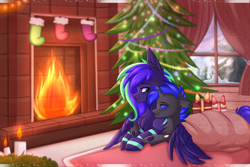 Size: 6000x4000 | Tagged: safe, artist:pesty_skillengton, oc, oc:mewu, oc:moonstone mark, changeling, pegasus, pony, blue changeling, candle, christmas, christmas lights, christmas presents, christmas tree, clothes, fire, fireplace, holiday, rug, snow, stockings, thigh highs, tree, window