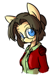 Size: 1280x1907 | Tagged: safe, artist:spheedc, oc, oc:sphee, anthro, earth pony, clothes, digital art, female, glasses, hair bun, mare, simple background, transparent background