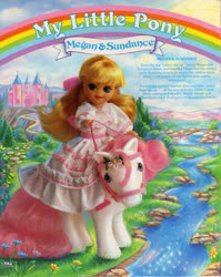 Size: 809x1016 | Tagged: safe, megan williams, sundance, backcard, bow, bridle, dream castle, g1, hair bow, humans riding ponies, official, pony ride, riding, river, story, tack, tail bow