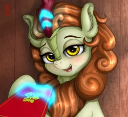 Size: 1280x1175 | Tagged: safe, alternate version, artist:celsian, autumn blaze, kirin, chinese, chinese new year, ear fluff, female, first person view, levitation, lidded eyes, looking at you, magic, magic aura, offscreen character, open mouth, pov, raised hoof, smiling, solo, telekinesis