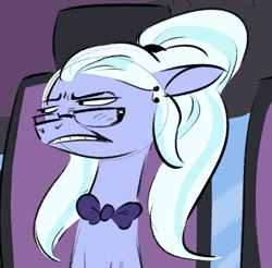 Size: 768x757 | Tagged: safe, artist:imsokyo, edit, sugarcoat, earth pony, pony, equestria girls, /mlp/, 4chan, bowtie, bust, cringing, cropped, equestria girls ponified, ponified, reaction image