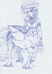 Size: 1194x1692 | Tagged: safe, artist:longinius, princess luna, alicorn, anthro, centaur, alternate hairstyle, anthro centaur, armpits, blushing, bracelet, braid, clothes, dappled, ear piercing, earring, female, freckles, fruit, fruit basket, ink drawing, jewelry, looking at you, mare, milk jug, monochrome, piercing, ponytaur, sparkles, species swap, traditional art, unshorn fetlocks