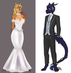 Size: 1578x1626 | Tagged: safe, artist:blackblood-queen, oc, oc only, oc:azurite, oc:olive branch, anthro, deer pony, digitigrade anthro, dracony, hybrid, original species, clothes, couple, digital art, dress, female, male, mare, oc x oc, shipping, simple background, smiling, straight, suit, wedding dress