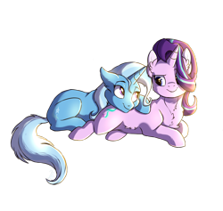 Size: 2516x2384 | Tagged: safe, artist:shimazun, starlight glimmer, trixie, pony, unicorn, chest fluff, female, happy, lesbian, looking at each other, lying down, mare, pony pillow, prone, shipping, simple background, smiling, snuggling, startrix, sunshine, transparent background