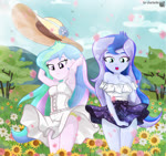 Size: 837x788 | Tagged: safe, artist:charliexe, princess celestia, princess luna, equestria girls, armpits, clothes, cute, cutelestia, digital art, dress, duo, female, flower, hat, lacy underwear, lunabetes, panties, principal celestia, siblings, sisters, skirt, sun hat, tree, underwear, upskirt, vice principal luna, wind, yellow underwear