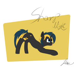 Size: 2000x1800 | Tagged: safe, artist:thekamko, derpibooru exclusive, oc, oc:sharp night, pony, unicorn, face down ass up, mlem, silly, simple background, smiling, solo, standing, tongue out
