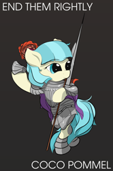 Size: 1000x1509 | Tagged: safe, artist:vultraz, coco pommel, earth pony, pony, armor, bipedal, end him rightly, female, gray background, hoof hold, mare, pun, simple background, solo, spear, sword, throwing, visual pun, weapon