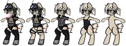 Size: 3292x1199 | Tagged: safe, artist:jetwave, oc, oc only, oc:treasure, earth pony, pony, semi-anthro, antennae, belly button, bipedal, body armor, boots, bubblegum, clothes, female, food, gear, goggles, gum, hairtie, headgear, helmet, leotard, mare, military, military uniform, operator, reference sheet, shoes, simple background, socks, soldier, thigh highs, tired, torn clothes, white background