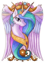 Size: 600x849 | Tagged: safe, artist:cold-creature, princess celestia, alicorn, pony, bust, colored wings, ear fluff, element of generosity, element of honesty, element of kindness, element of laughter, element of loyalty, element of magic, elements of harmony, female, mare, multicolored wings, portrait, simple background, solo, sun, white background, wing fluff, wings