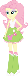 Size: 4425x11863 | Tagged: safe, artist:marcorois, fluttershy, equestria girls, absurd resolution, boots, clothes, shoes, simple background, skirt, smug, solo, tanktop, transparent background, vector