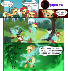 Size: 3162x3298 | Tagged: safe, artist:darktailsko, applejack, autumn blaze, coloratura, rarity, strawberry sunrise, torque wrench, earth pony, kirin, pegasus, pony, unicorn, angry, applejack gets all the mares, applejack's hat, bipedal, comic, commission, cowboy hat, eyes closed, eyeshadow, female, hat, headband, laughing, mad with power, makeup, mare, open mouth, raised hoof, raised leg, staff, staff of sacanas, tickle torture, tickling, tree, underhoof