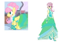 Size: 1280x849 | Tagged: safe, artist:ponyretirementhome, edit, screencap, fluttershy, pegasus, pony, equestria girls, green isn't your color, alternate hairstyle, blushing, clothes, dress, ear piercing, earring, eyeshadow, feet, female, high heels, hoof wraps, jewelry, lipstick, makeup, mare, modelshy, piercing, shoes, simple background, solo, white background