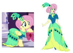 Size: 1280x929 | Tagged: safe, artist:ponyretirementhome, edit, screencap, fluttershy, pegasus, pony, equestria girls, make new friends but keep discord, alternate hairstyle, clothes, dress, ear piercing, earring, feather, female, flats, gala dress, jewelry, lipstick, mare, piercing, raised hoof, scarf, simple background, solo, table, white background