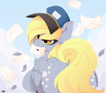 Size: 5000x4400 | Tagged: safe, alternate version, artist:xsatanielx, derpy hooves, pegasus, pony, absurd resolution, both cutie marks, chest fluff, cute, derpabetes, female, hat, letter, looking back, mailmare, mare, mouth hold, rcf community, rear view, smiling, solo