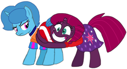 Size: 1816x985 | Tagged: safe, artist:徐詩珮, fizzlepop berrytwist, spring rain, tempest shadow, unicorn, series:sprglitemplight diary, series:sprglitemplight life jacket days, series:springshadowdrops diary, series:springshadowdrops life jacket days, shadow play, alternate universe, base used, broken horn, butt touch, butthug, cute, female, horn, lesbian, lifeguard, lifeguard spring rain, paw patrol, pinkie hugging applejack's butt, shipping, simple background, spring rain is not amused, springbetes, springshadow, tempestbetes, transparent background, unamused, vector