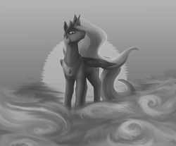 Size: 1450x1199 | Tagged: safe, artist:stray prey, princess celestia, female, fog, monochrome, solo, sunset, water