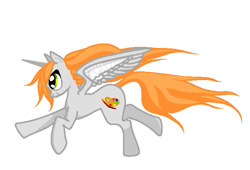 Size: 661x450 | Tagged: safe, artist:agdistis, artist:anonymous, oc, oc only, oc:ginger peach, alicorn, pony, /mlp/, alicorn oc, cute, drawthread, galloping, green eyes, horn, ocbetes, orange hair, running, simple background, solo, white background, wings