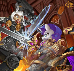 Size: 1280x1244 | Tagged: safe, artist:eztp, rarity, human, pony, unicorn, fanfic:iron hearts, adepta sororitas, alternate universe, armor, bolter, chaos, combat, commission, crossover, duo, fanfic, fanfic art, fanfic cover, female, gun, iron warriors, magic, mare, power armor, power sword, sword, sword fight, sword rara, telekinesis, this will end in pain, warhammer (game), warhammer 40k, weapon, woman