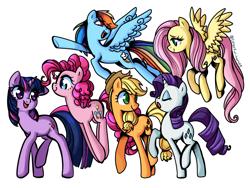 Size: 1280x960 | Tagged: safe, artist:colorful-horses, applejack, fluttershy, pinkie pie, rainbow dash, rarity, twilight sparkle, earth pony, pegasus, pony, unicorn, cute, eyes closed, female, mane six, mare, open mouth, profile, simple background, unicorn twilight, white background