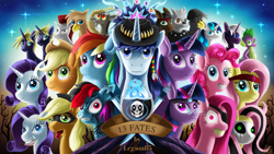 Size: 2015x1140 | Tagged: safe, artist:jphyperx, applejack, discord, fluttershy, pinkie pie, rainbow dash, rarity, shining armor, spike, tree of harmony, twilight sparkle, oc, oc:dawn slasher, alicorn, diamond dog, dragon, earth pony, griffon, pegasus, pony, unicorn, fanfic:13fates, bounty hunter, bust, epic, evil mane six, fanfic, fanfic art, group shot, mane six, pinkamena diane pie, skull, stars