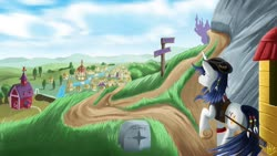 Size: 1600x900 | Tagged: safe, artist:jphyperx, oc, oc only, oc:dawn slasher, pony, unicorn, fanfic:13fates, canterlot, male, ponyville, road sign, scenery, sky, stallion, sweet apple acres, travelling, village, wagon