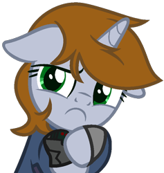 Size: 702x739 | Tagged: safe, artist:rerorir, oc, oc only, oc:littlepip, pony, unicorn, fallout equestria, base used, female, frown, mare, simple background, solo, transparent background