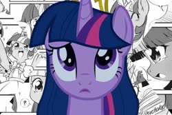Size: 1773x1182   Tagged: safe, edit, seven seas, twilight sparkle, alicorn, my little pony: the manga, black and white, crown, crying, grayscale, jewelry, long hair, monochrome, regalia