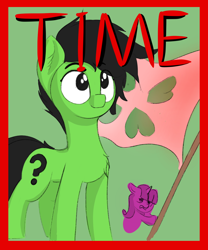 Size: 1276x1532   Tagged: safe, artist:anonymous, oc, oc:filly anon, earth pony, pony, /mlp/, 4chan, 4chan logo, cover art, drawthread, female, filly, flag, solo, time magazine