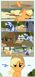 Size: 1919x4225 | Tagged: safe, artist:estories, applejack, oc, oc:silverlay, pony, unicorn, comic:a(pple)ffection, female, hat, mare