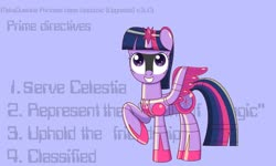 Size: 1280x767 | Tagged: safe, artist:trackheadtherobopony, twilight sparkle, alicorn, pony, robot, robot pony, robocop, roboticization, solo, twibot, twilight sparkle (alicorn)