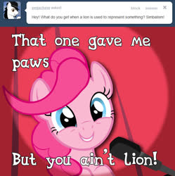 Size: 648x650 | Tagged: safe, artist:craftybrony, pinkie pie, pony, ask pun, ask, ask tickled pinkie, pun, solo