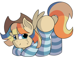 Size: 1280x987 | Tagged: safe, artist:rainbowtashie, braeburn, wind waker (character), oc, oc:spicy cider, earth pony, pegasus, adorable face, butt, clothes, commissioner:bigonionbean, cowboy hat, cute, dat flank, extra thicc, flank, fusion, fusion:spicy cider, hat, jumpsuit, male, meme, plot, seductive pose, socks, stallion, stetson, striped socks, sultry pose, thicc ass, writer:bigonionbean
