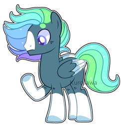 Size: 1772x1824 | Tagged: safe, artist:kurosawakuro, oc, pegasus, pony, colored wings, male, multicolored wings, offspring, parent:dumbbell, parent:rainbow dash, parents:dumbdash, simple background, solo, stallion, transparent background, wings